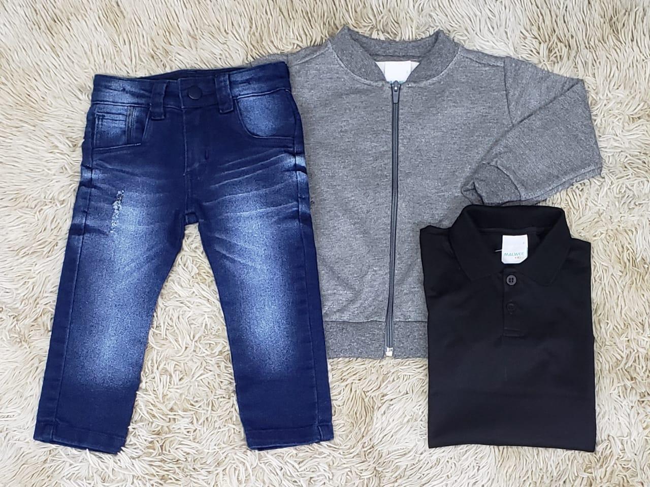 Calça jeans com Polo e Jaqueta Moletom