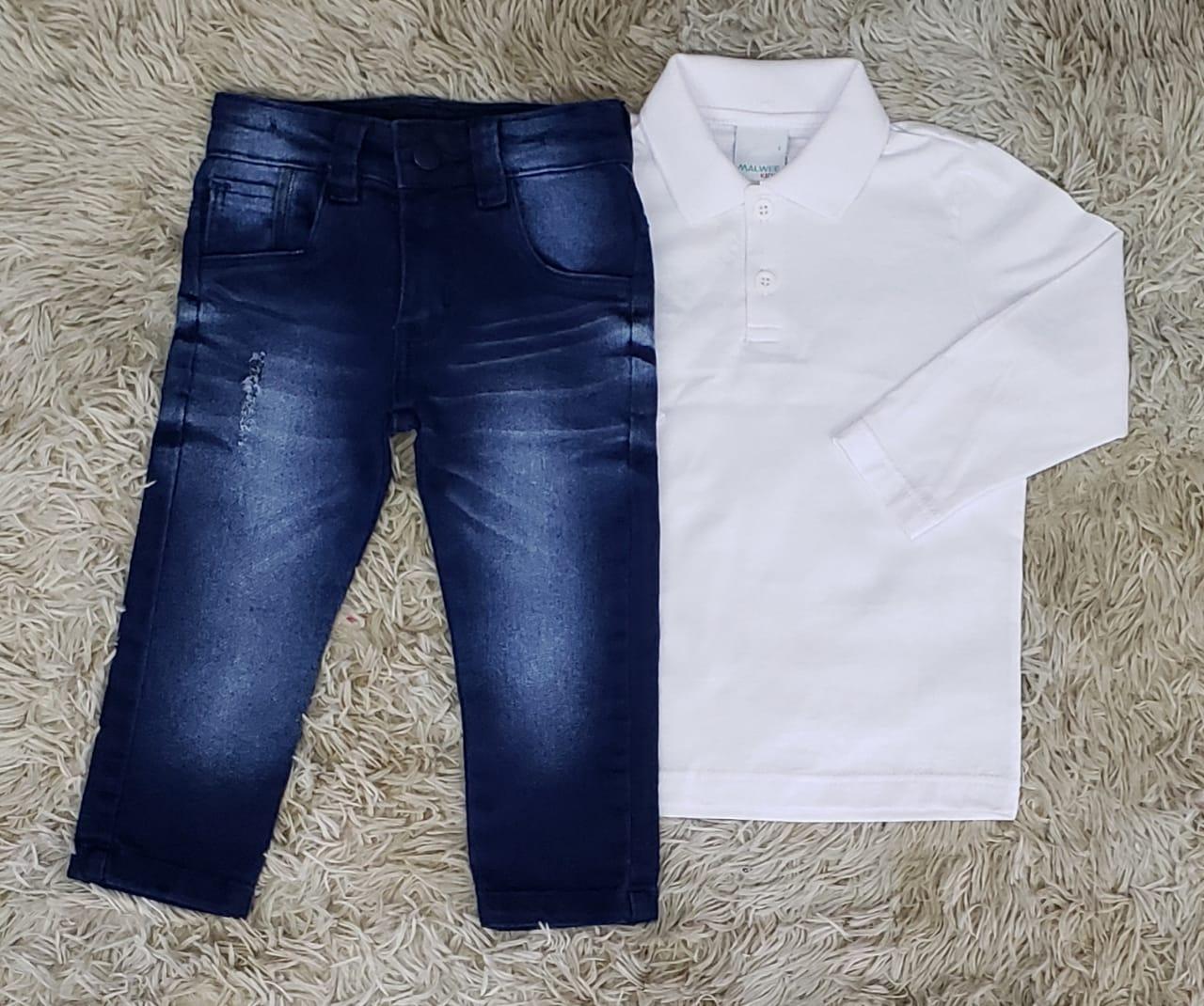Calça Jeans com Polo Manga Longa Branca