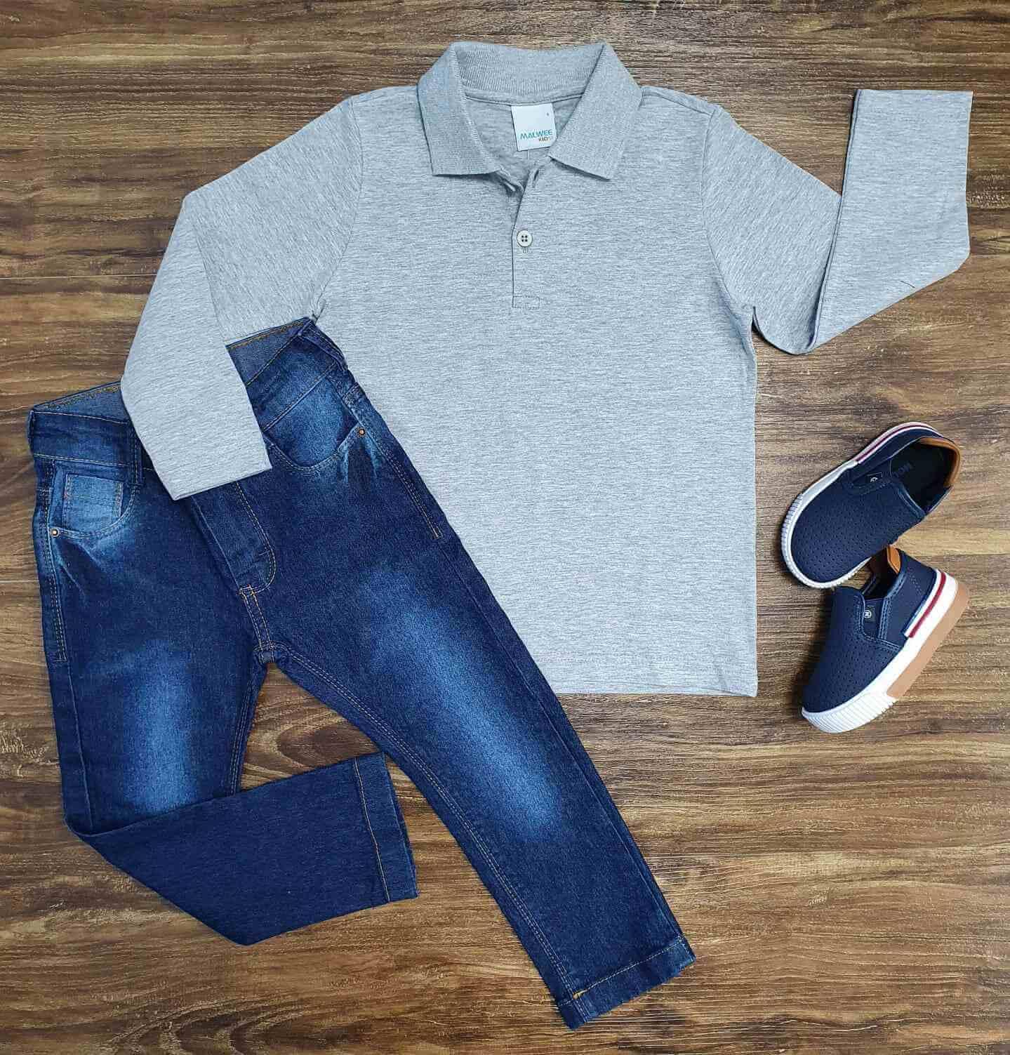 Calça Jeans com Polo Manga Longa Cinza