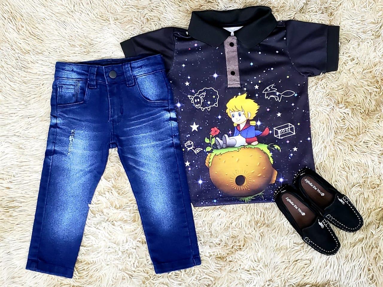 Calça Jeans com Polo Pequeno Príncipe