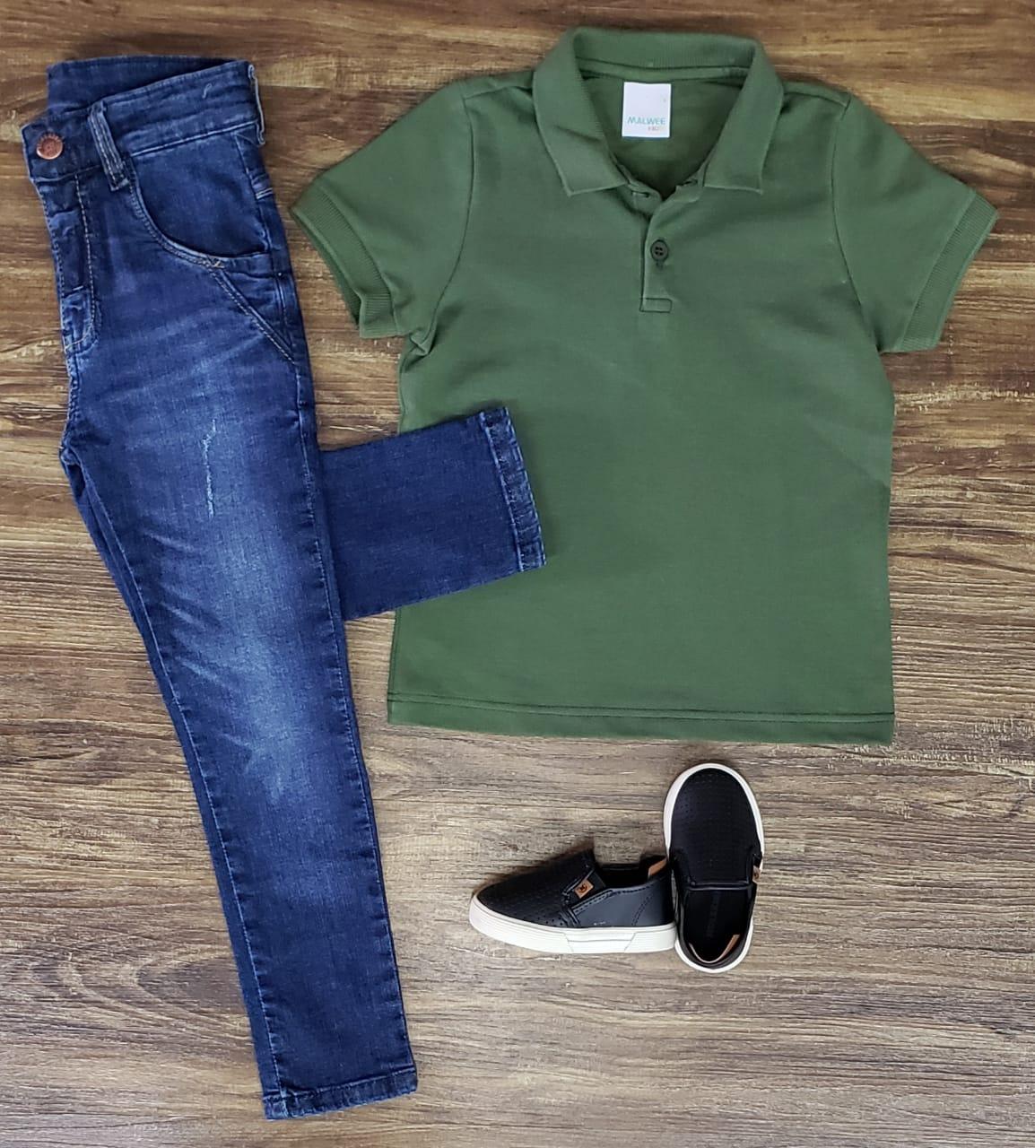 Calça Jeans com Polo Verde Musgo