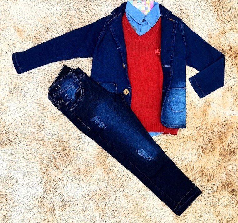 Calça Jeans com Pullover e Camisa Jeans com Blazer