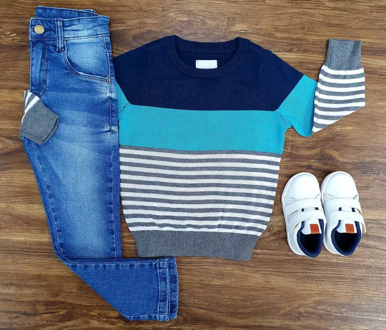 Calça Jeans com Suéter Listrado Infantil