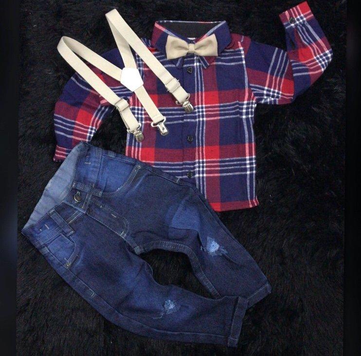 Calça Jeans com Suspensório Bege e Camisa Xadrez com Gravata Bege 423c205e010