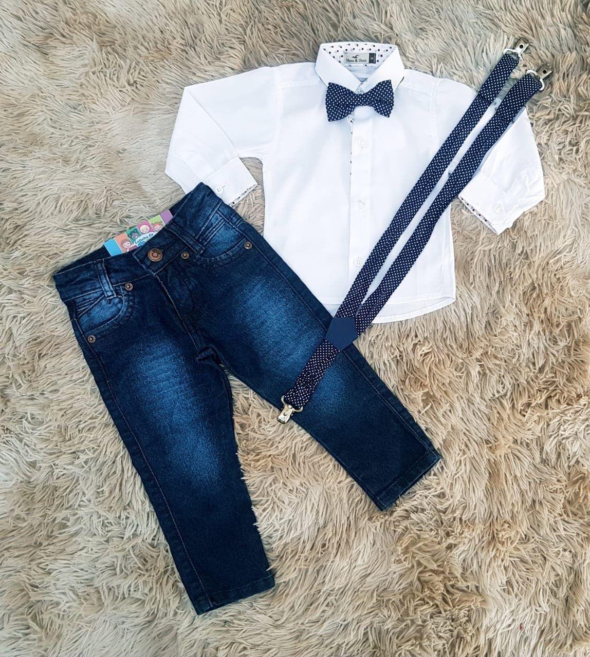 Calça Jeans com Suspensório e Camisa Social Branca Manga Longa com Gravata