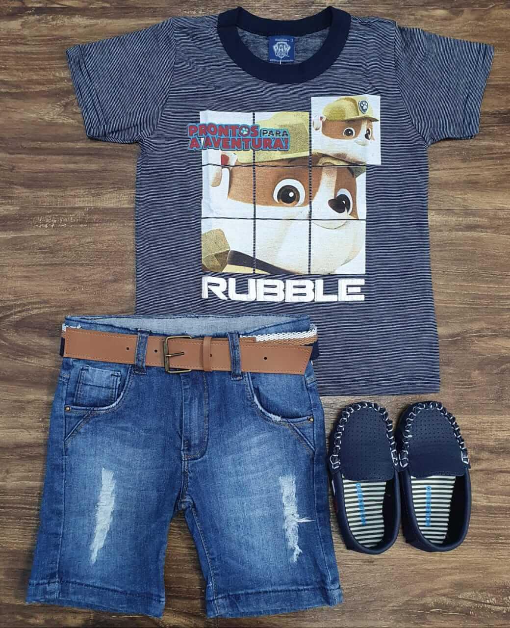 Bermuda Jeans Destroyer com Camiseta Patrulha Canina Infantil