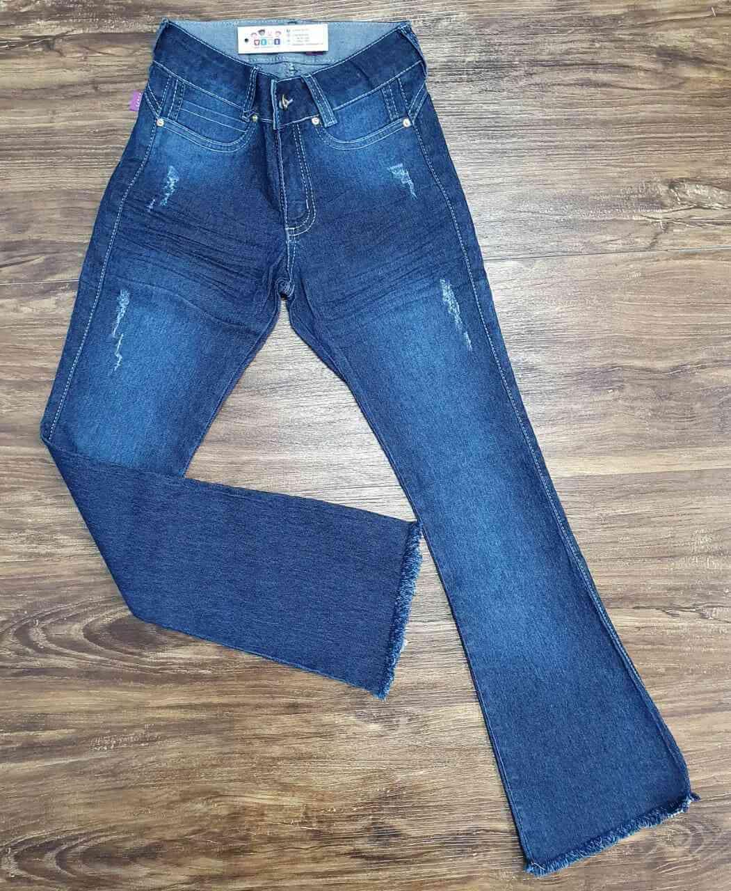 Calça Jeans Escura com Detalhes Infantil