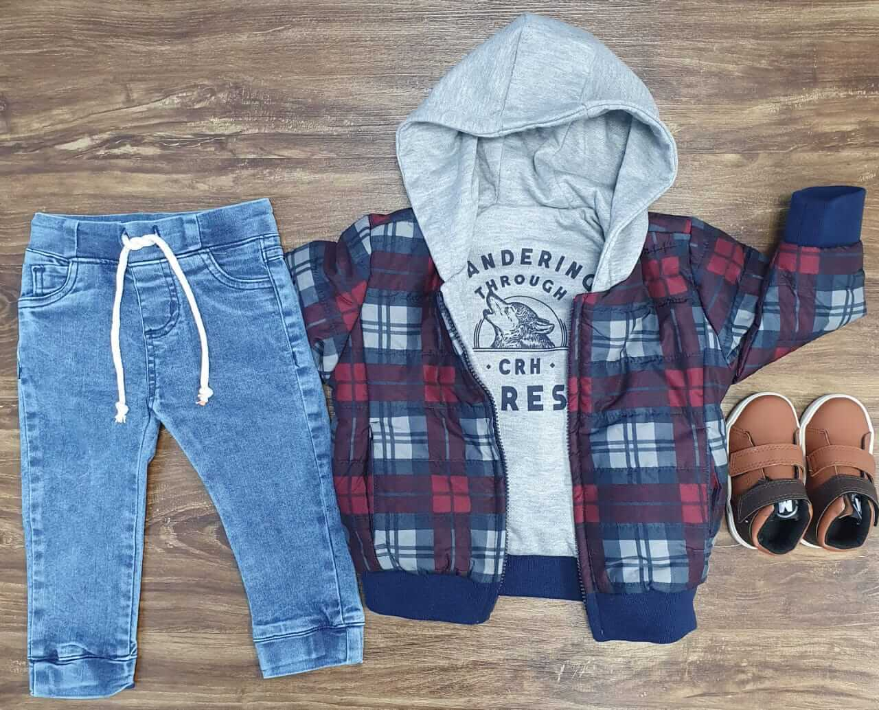 Calça Jeans Jogger com Jaqueta Dupla Face Infantil
