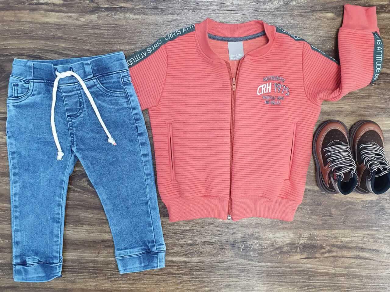 Calça Jeans Jogger com Jaqueta Coral Infantil