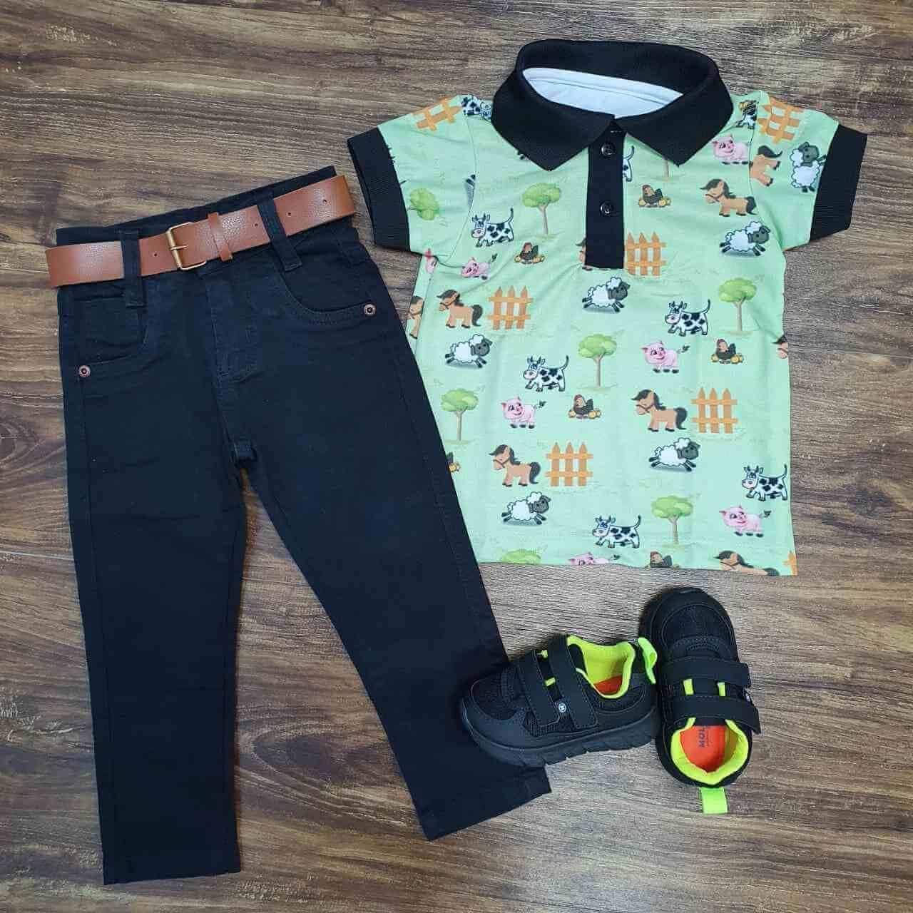Calça Jeans Preta com Polo Fazendinha