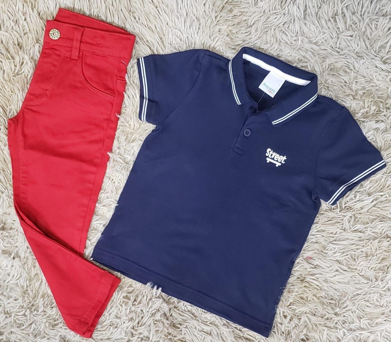 Calça Jeans Vermelha com Polo