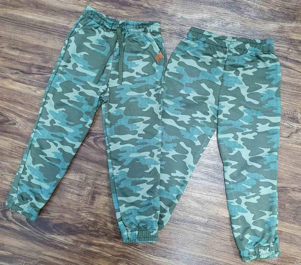 Calça Moletom Verde Camuflada Infantil