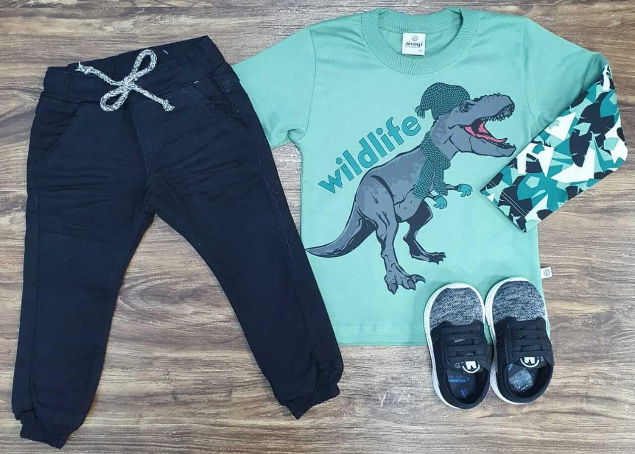 Calça Jogger com Camiseta Wildlife Verde Infantil