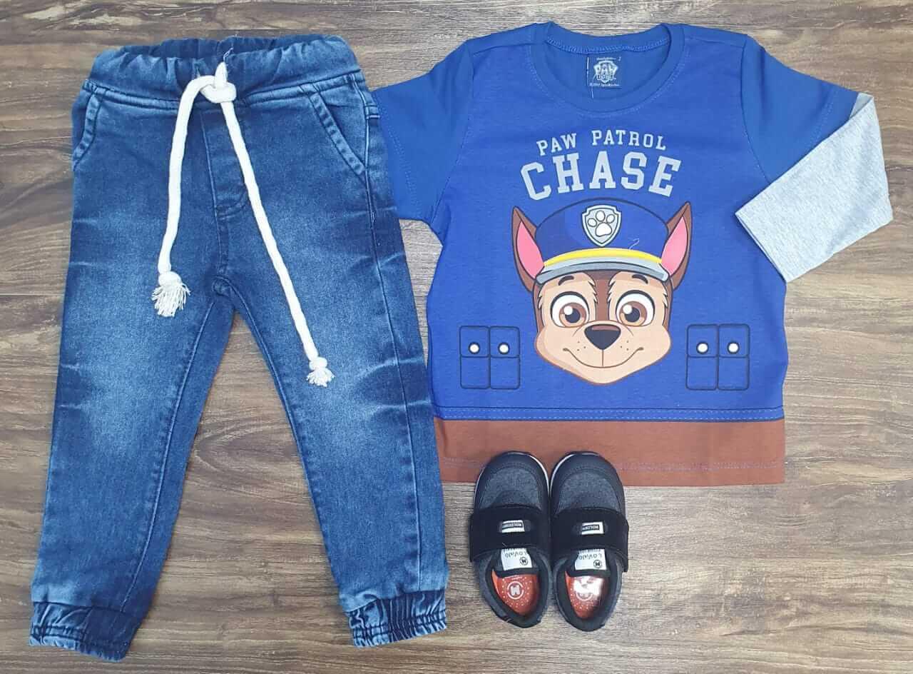 Calça Jogger com Camiseta Patrulha Canina Azul Infantil