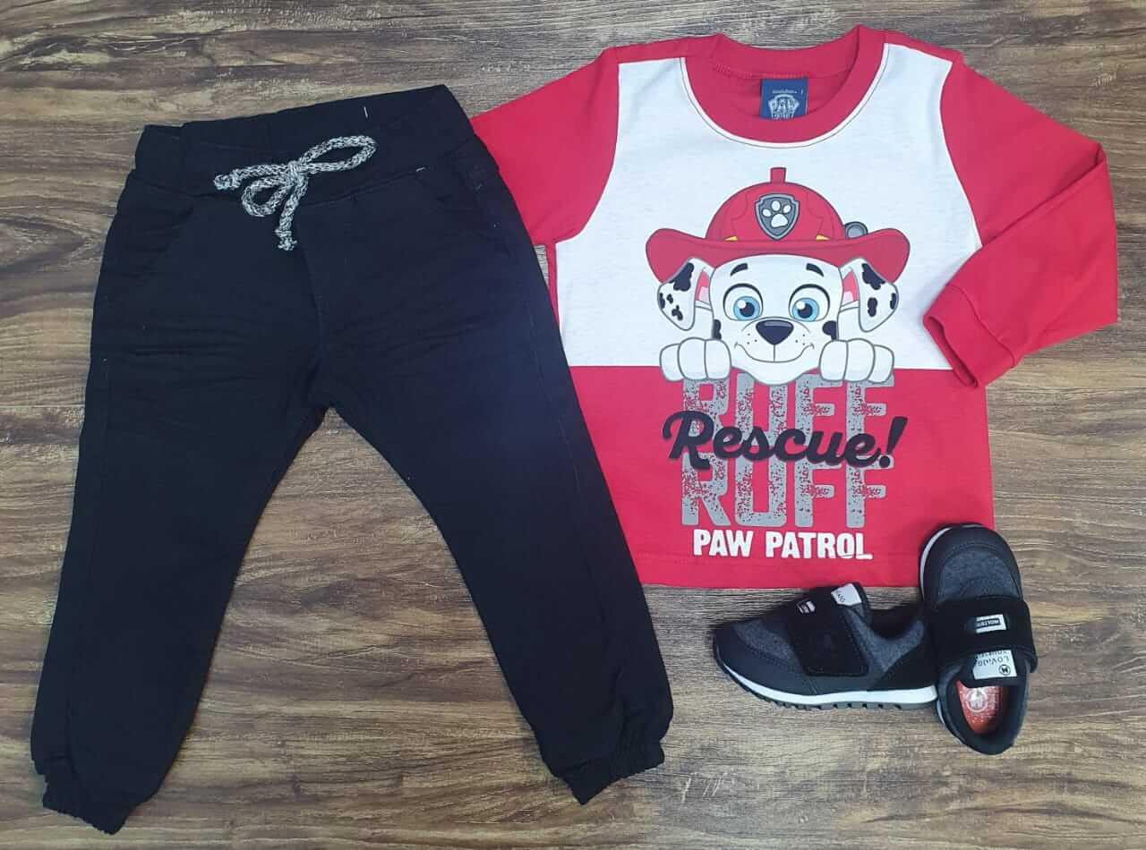 Calça Jogger com Camiseta Patrulha Canina Vermelha Infantil