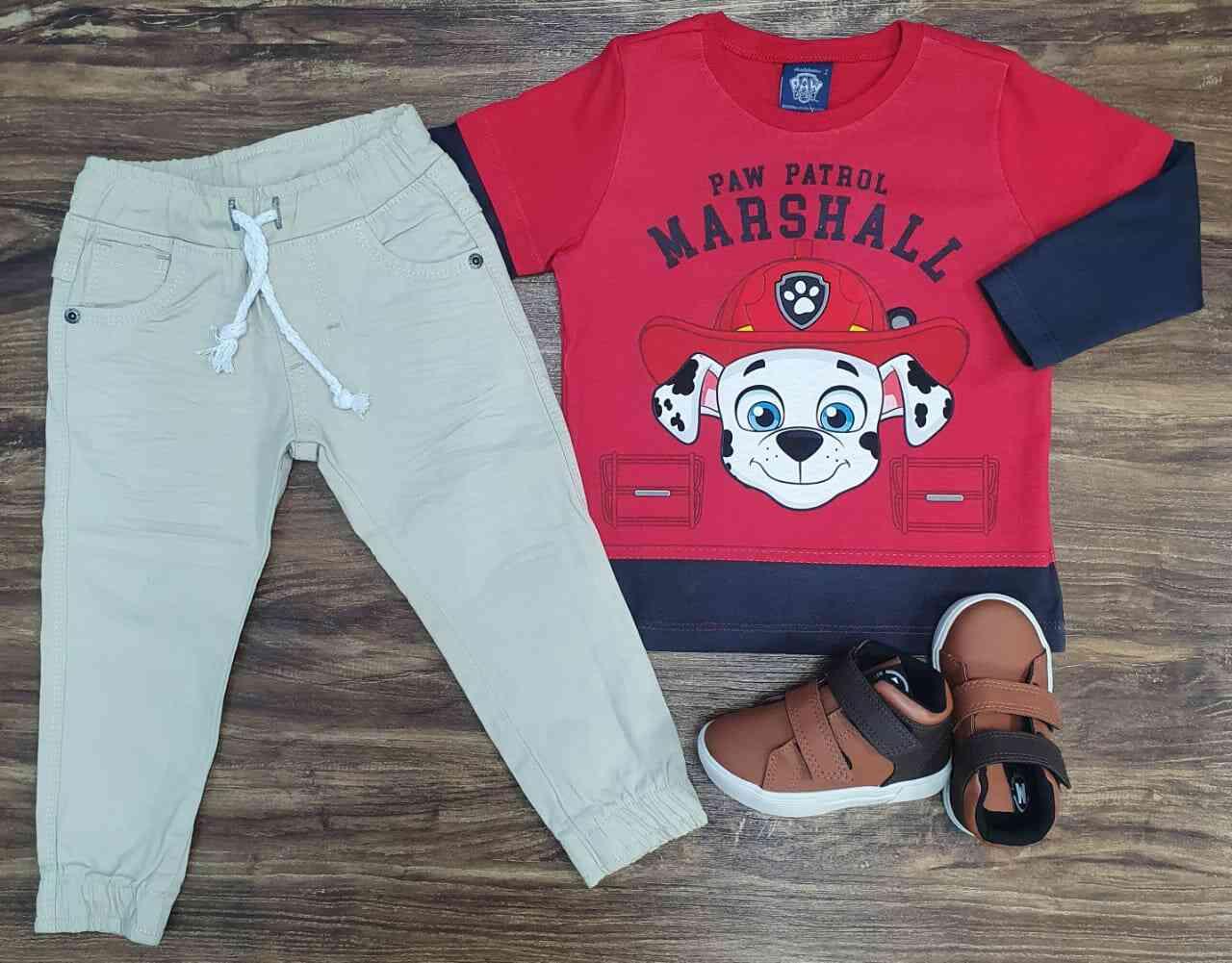 Calça Jogger com Camiseta Patrulha Canina Infantil