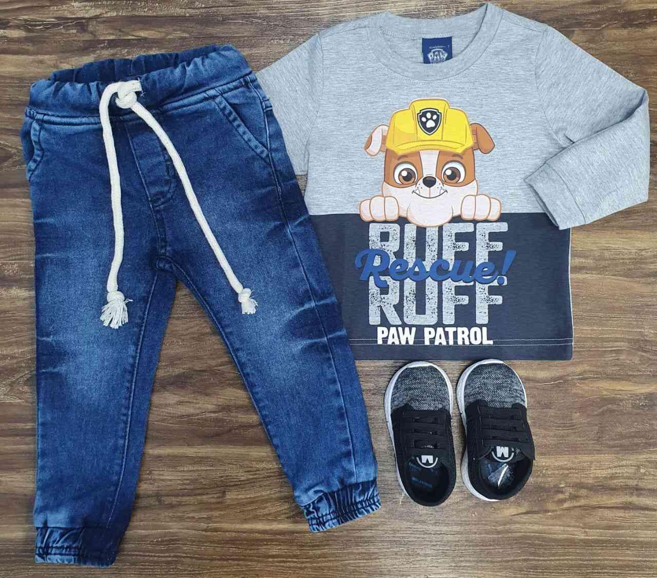 Calça Jogger com Camiseta Patrulha Canina Cinza Infantil