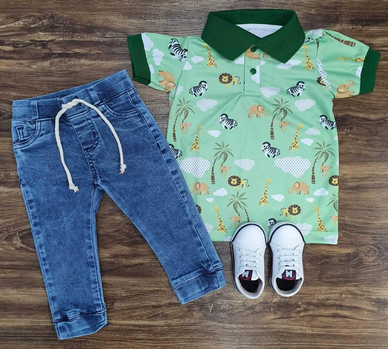 Calça Jogger com Camiseta Polo Safari Infantil
