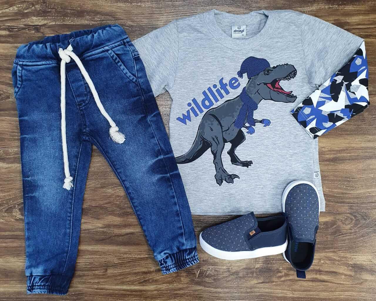 Calça Jogger com Camiseta Wildlife Cinza Infantil