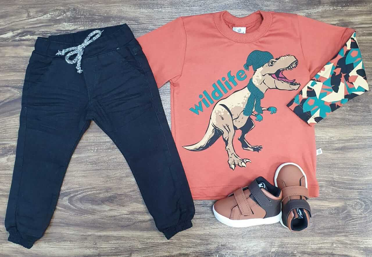 Calça Jogger com Camiseta Wildlife Laranja Infantil