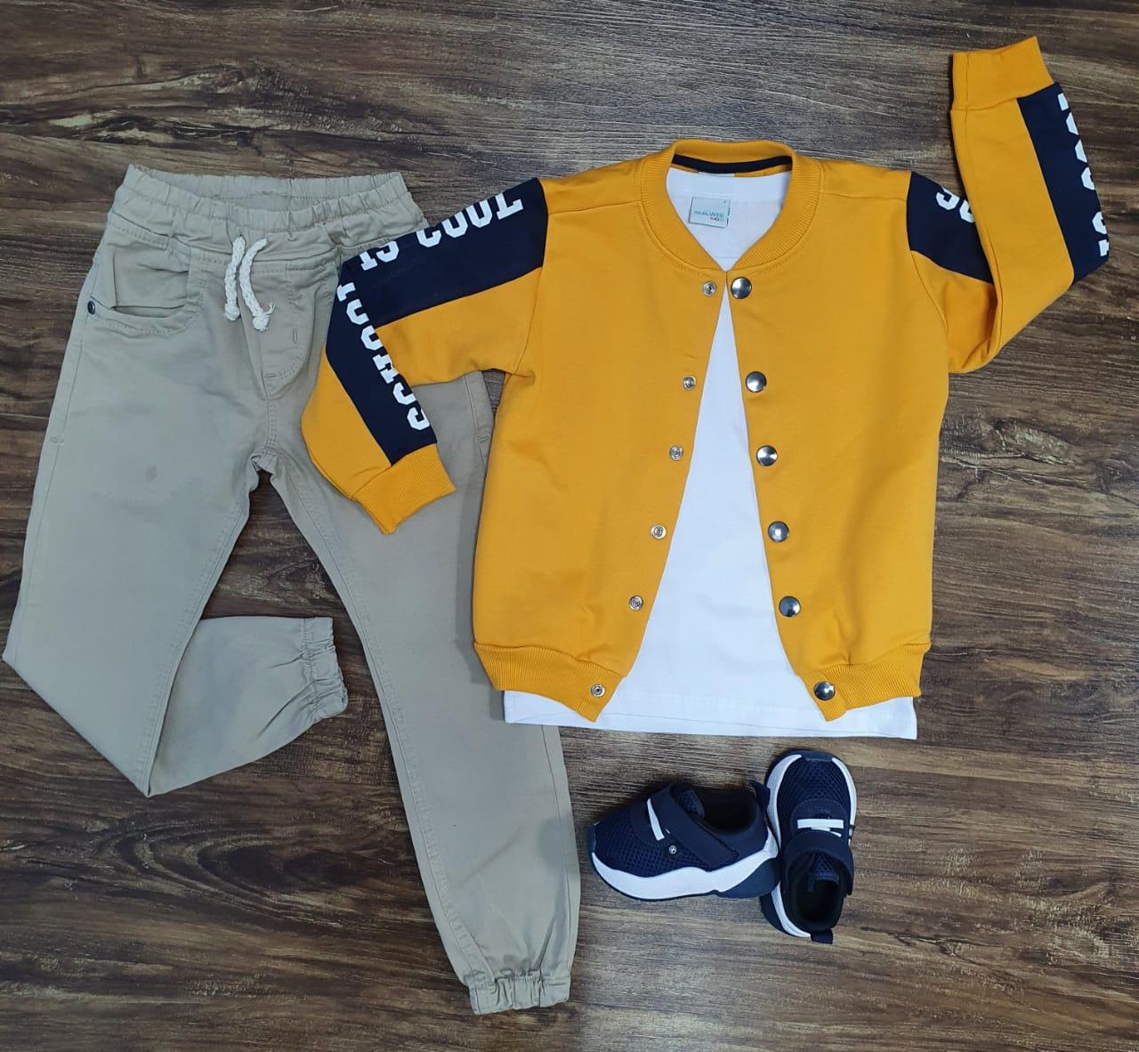 Calça Jogger com Jaqueta Moletom Amarela e Camiseta Infantil