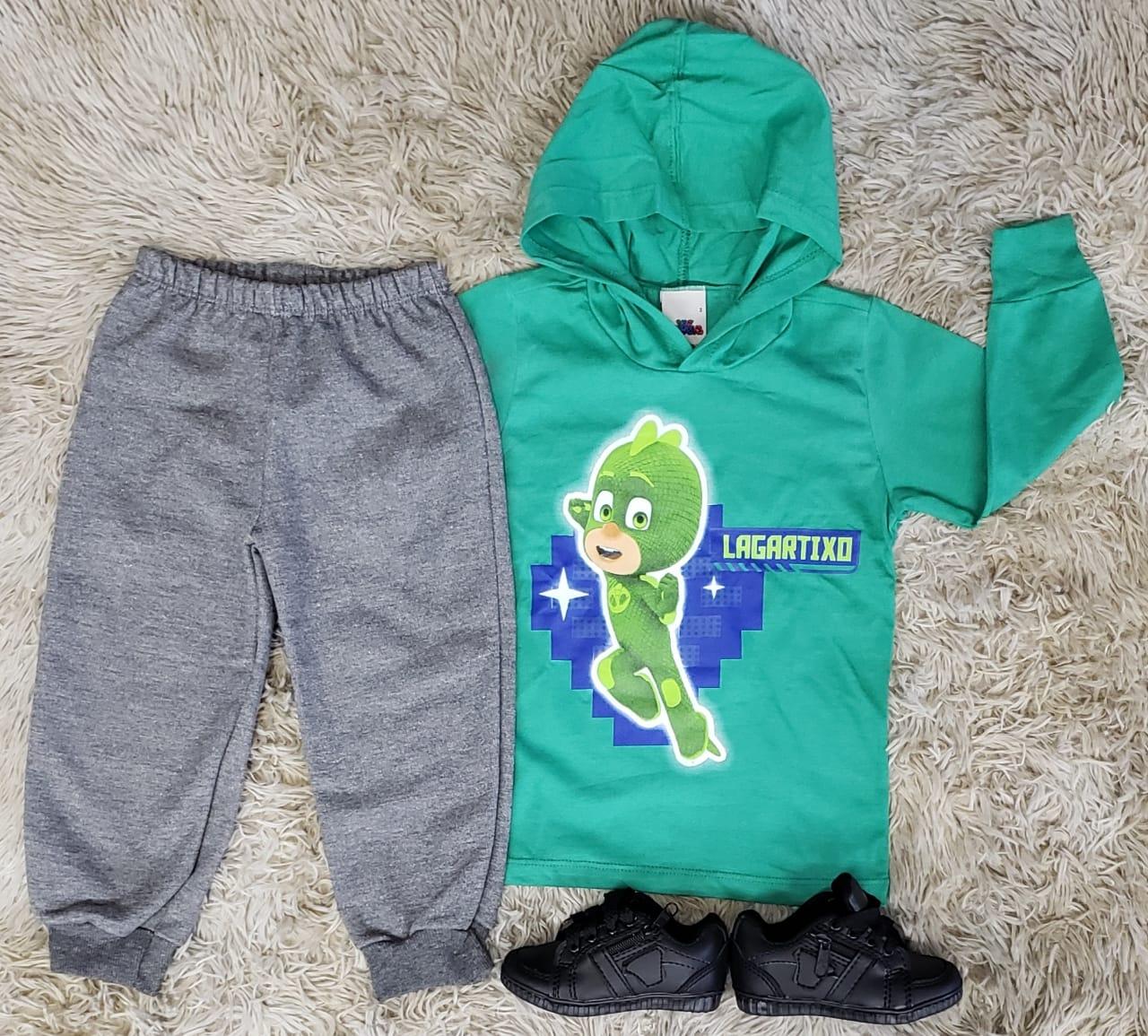 Calça De Moletom Com Camiseta Longa Pj Masks Infantil