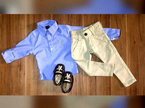 Calça Nude com Camisa Bata Manga Longa Azul