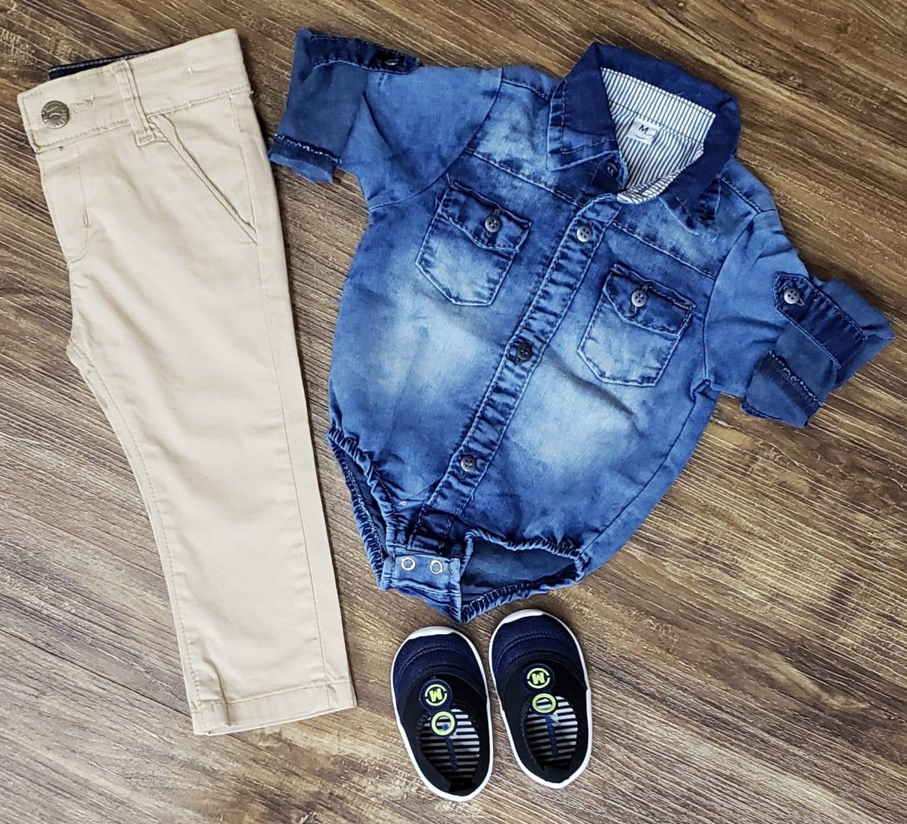 Calça Nude com Body Jeans