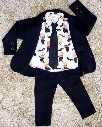 Calça Preta Camisa Social com Gravata e Blazer - Look Poderoso Chefinho