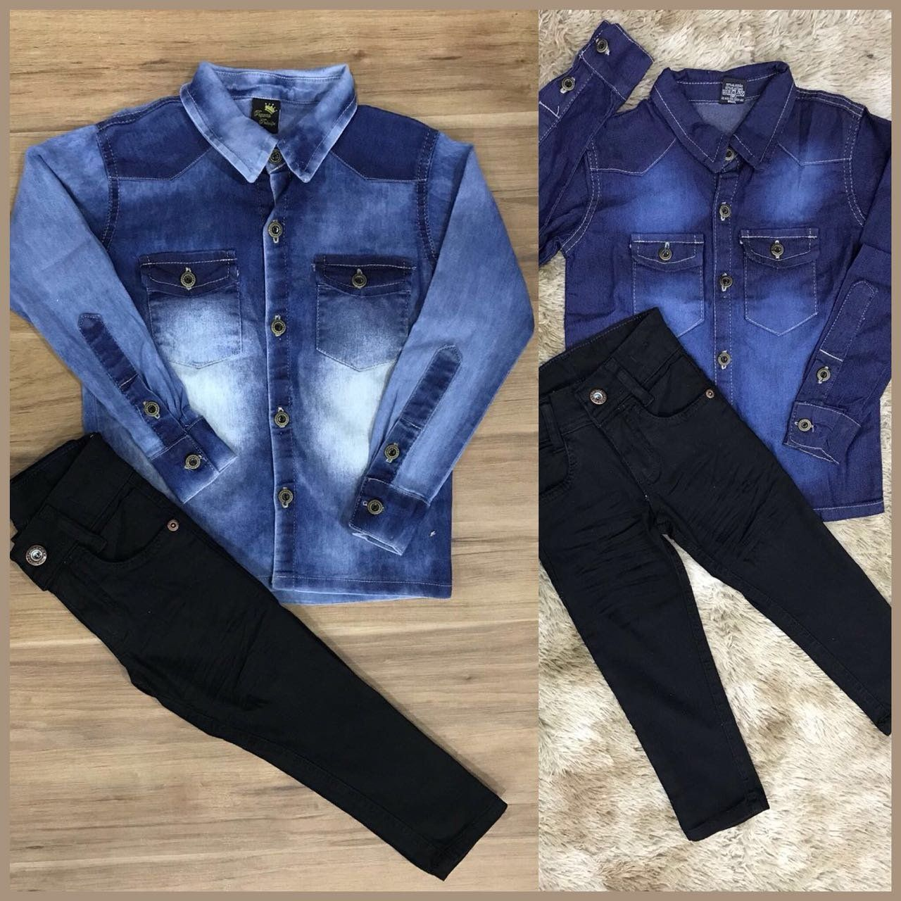 Calça Preta com Camisa Jeans Manga Longa