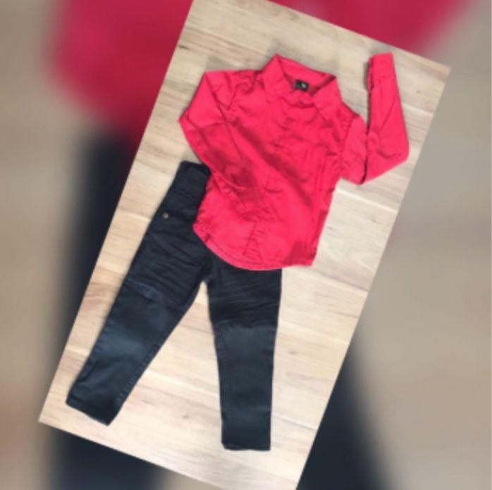 Calça Preta com Camisa Social Vermelha Manga Longa