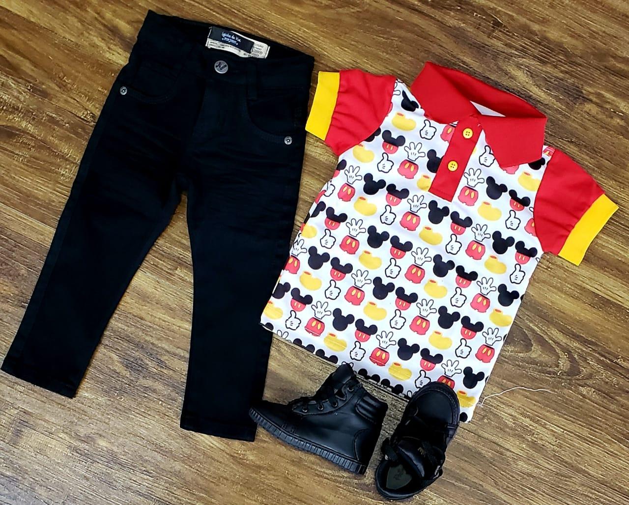Roupa Calça Mickey Tradicional Preto Infantil