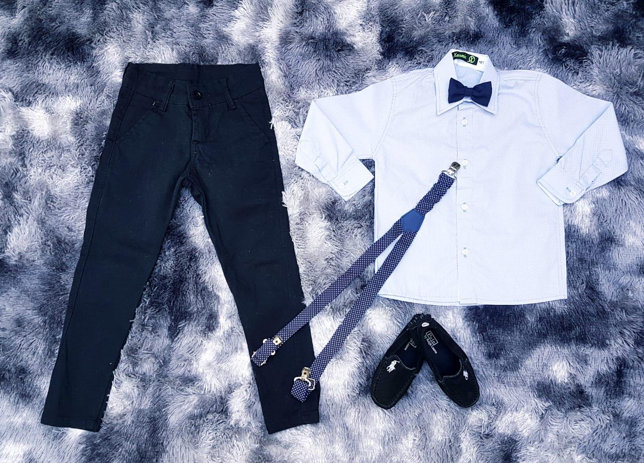 135b4ff5a Calça Preta com Suspensório e Camisa Branca com Gravata - Lojinha da ...