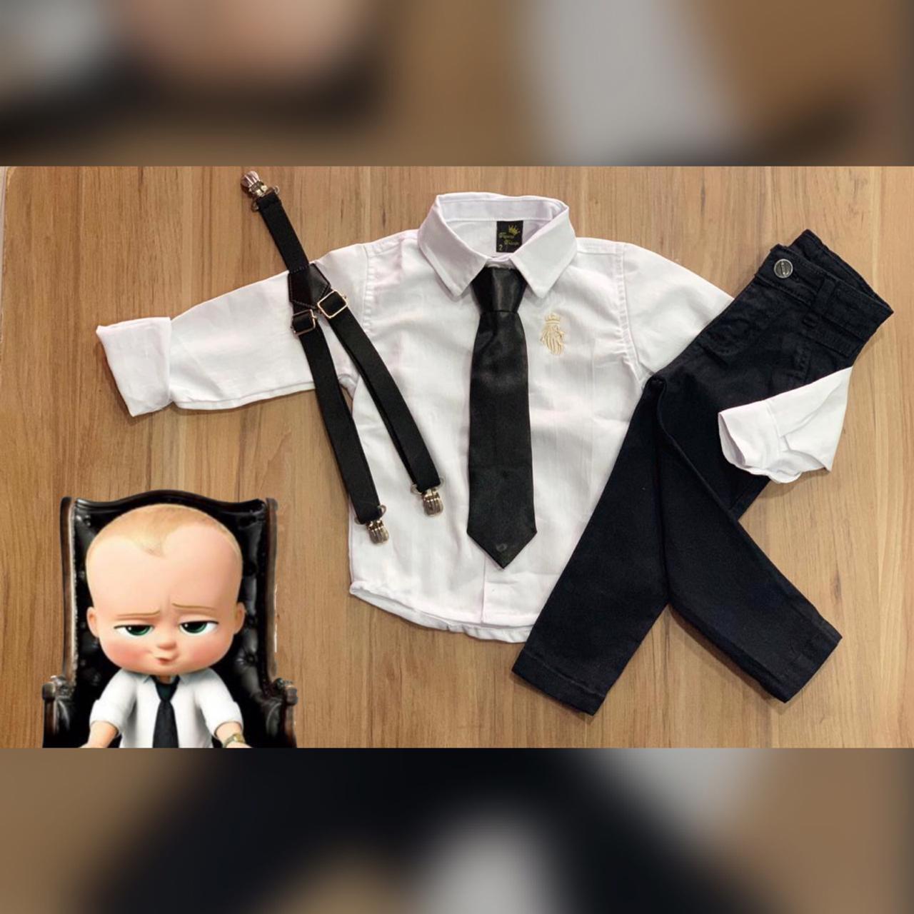 Calça preta com Suspensório e Camisa Branca com Gravata - Look Poderoso Chefinho
