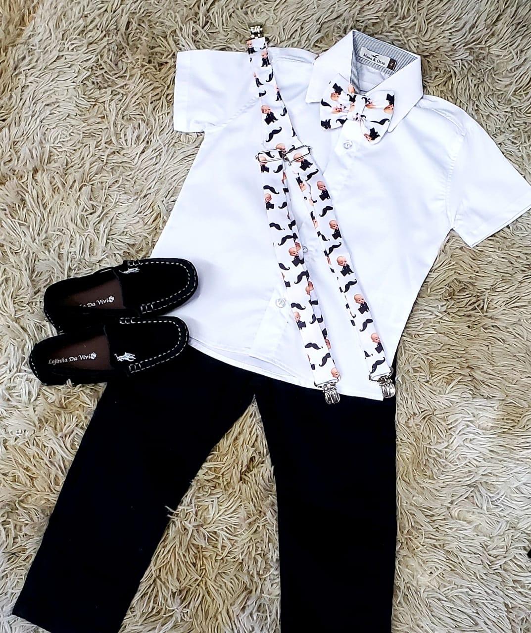 Calça Preta e Camisa Social Branca com Suspensório e Gravata Poderoso Chefinho