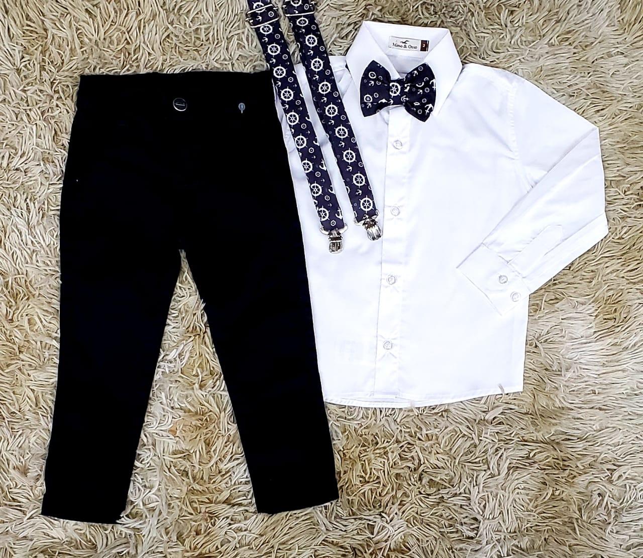 Calça Preta e Camisa Social Manga Longa com Suspensório e Gravata