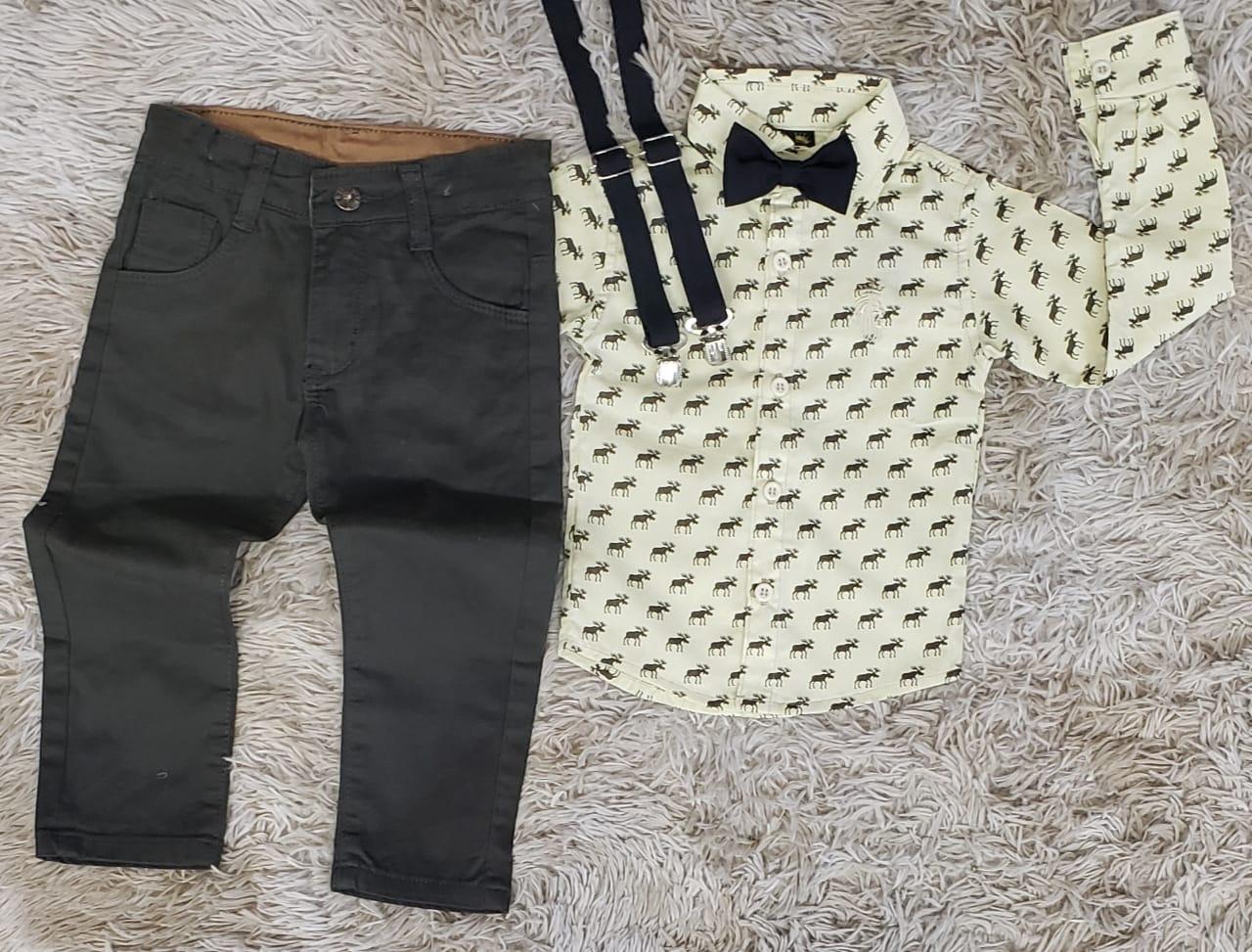 Calça Verde Musgo com Suspensorio e Camisa com Gravata