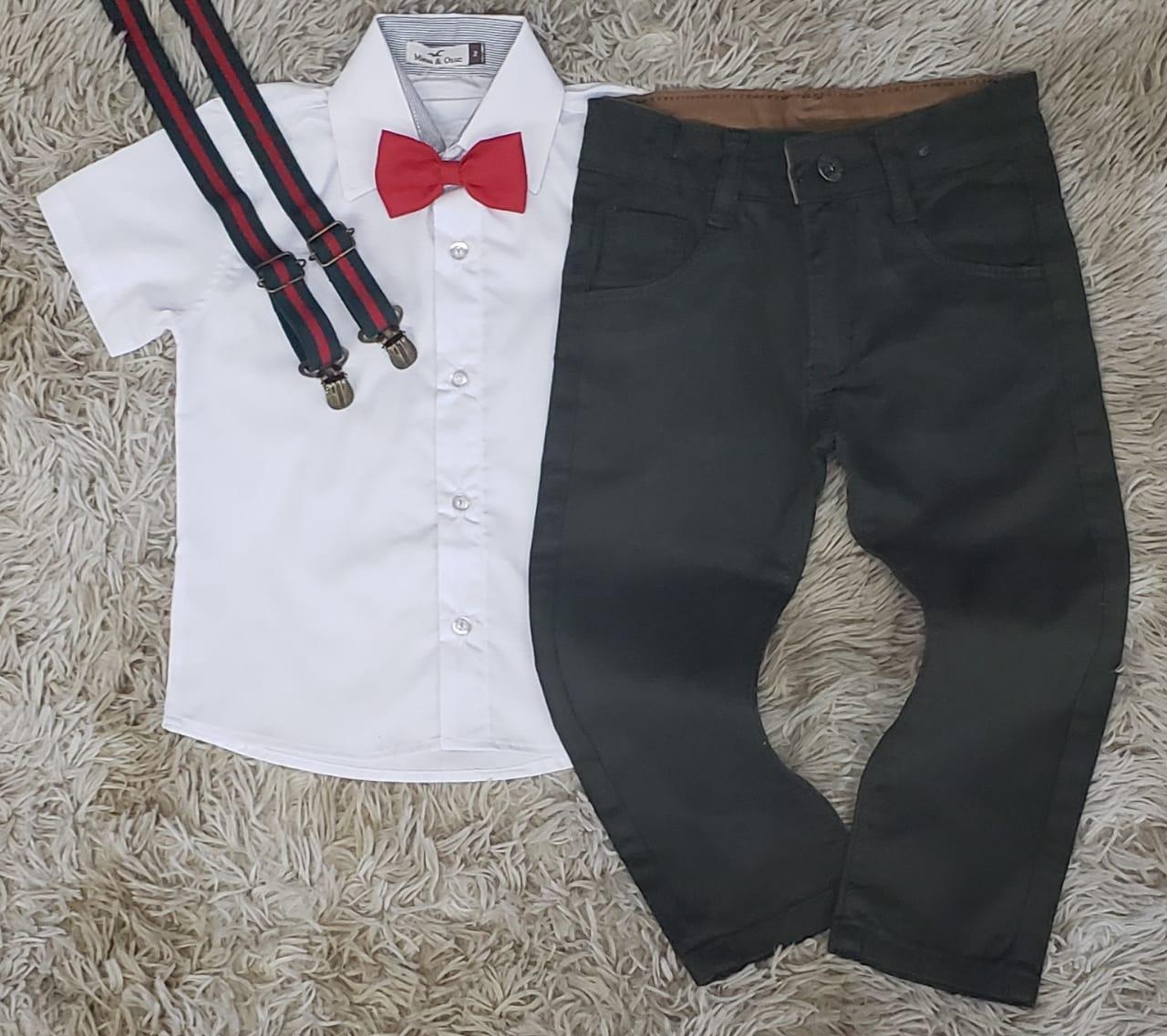 Calça Verde Musgo com Suspensório e Camisa Social com Gravata