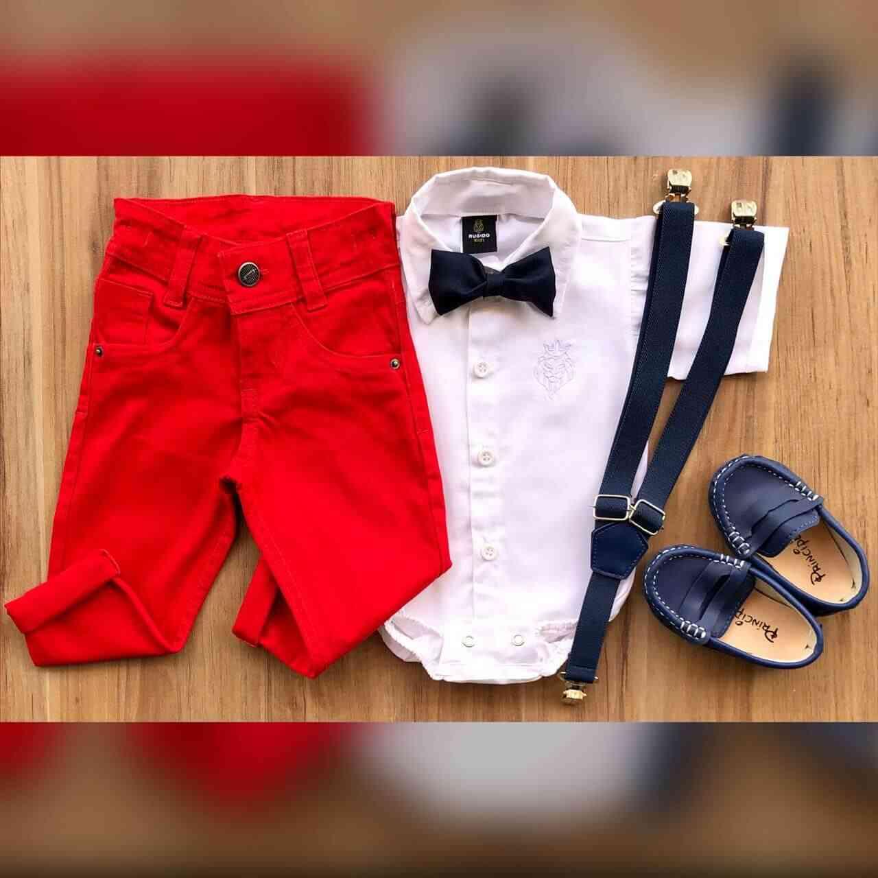 Calça Vermelha com Body Social Branco Infantil