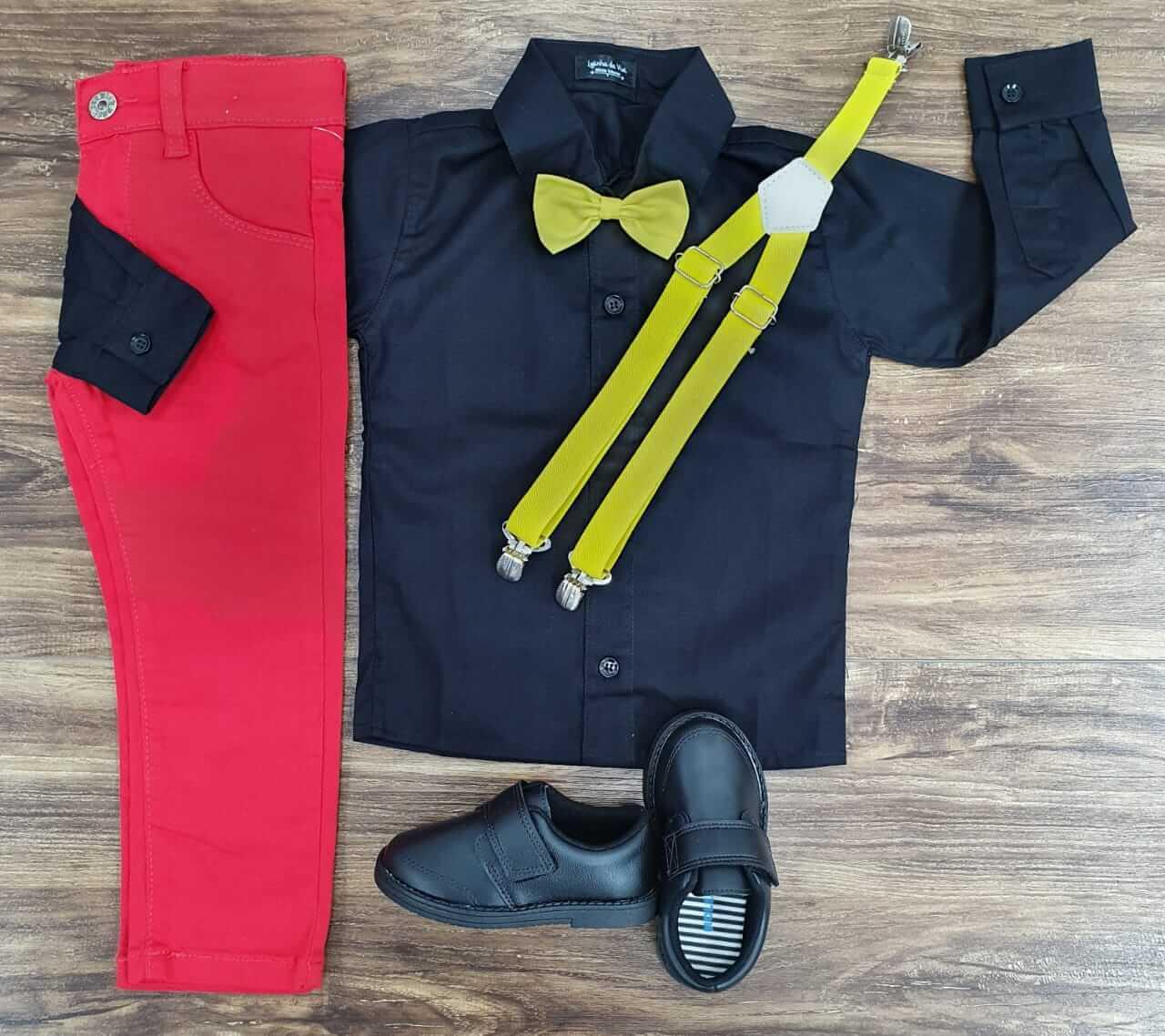 Calça Vermelha com Camisa Preta Gravata e Suspensório Amarelo