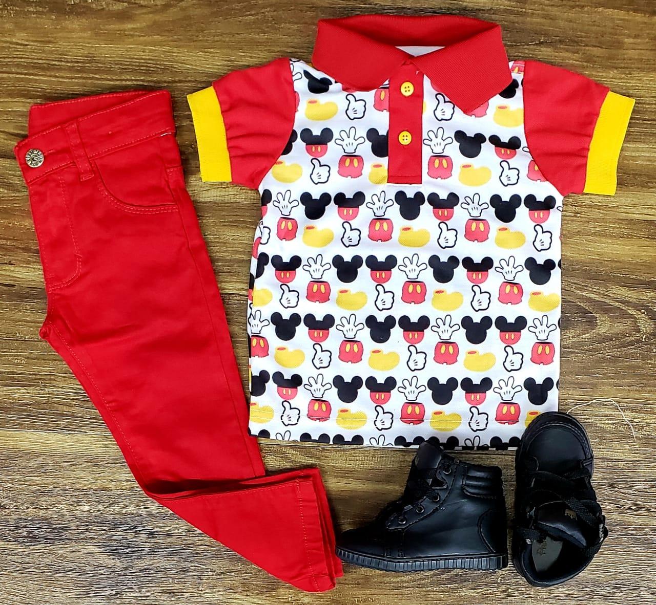 Calça Vermelha Com Polo Mickey