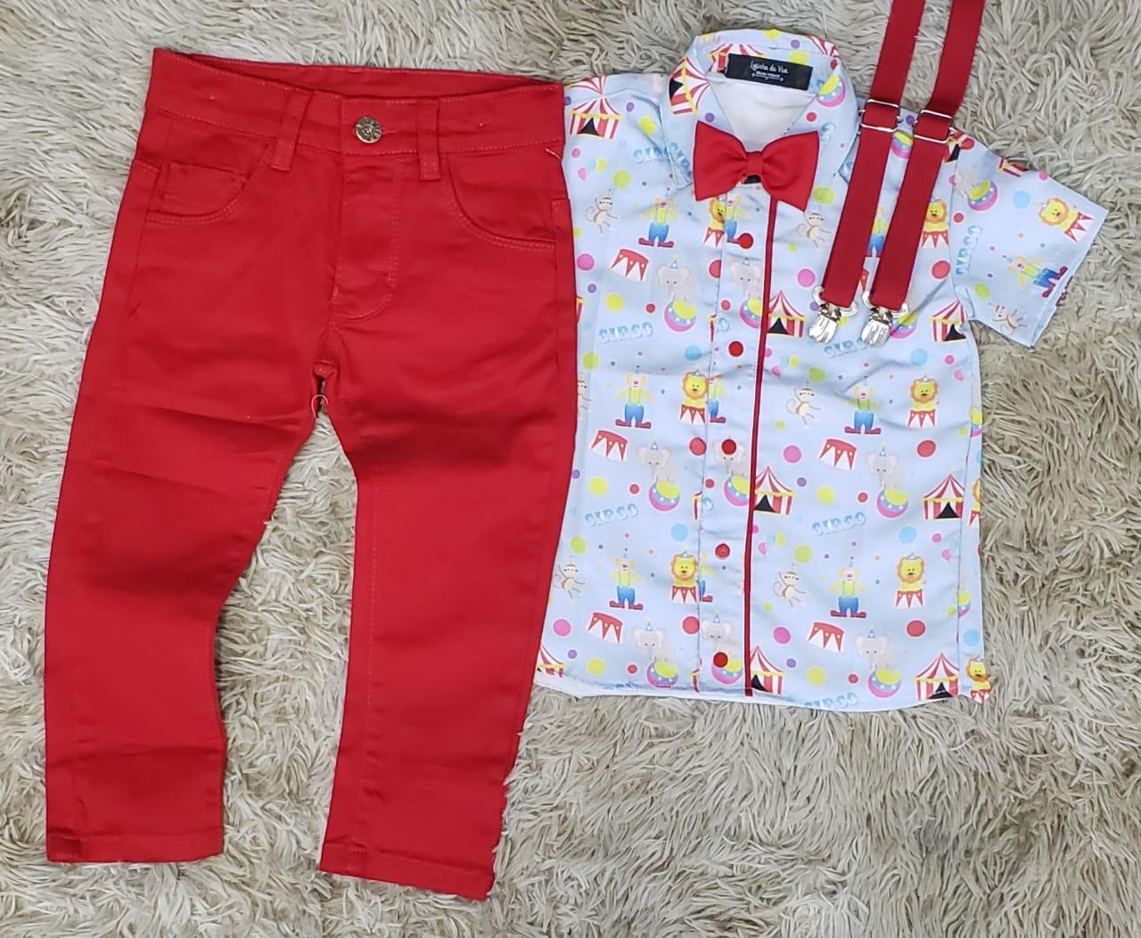Calça Vermelha com Suspensório e Camisa Circo com Gravata