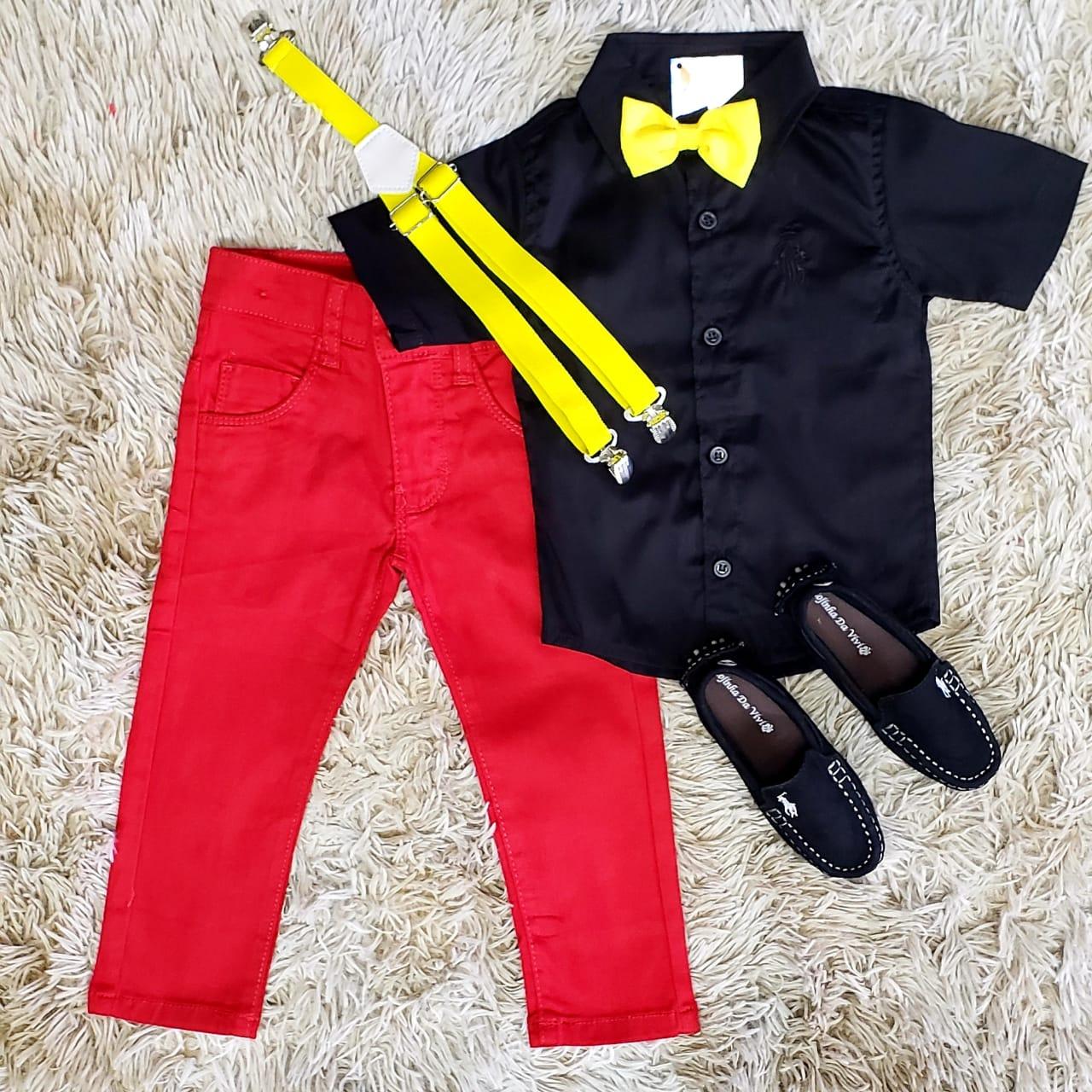 Conjunto Calça Mickey Preto e Vermelho Infantil