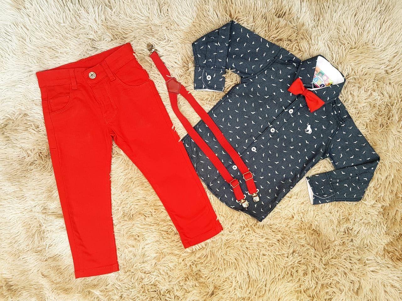 Calça Vermelha com Camisa Social Nick Kids mais Suspensório e Gravata
