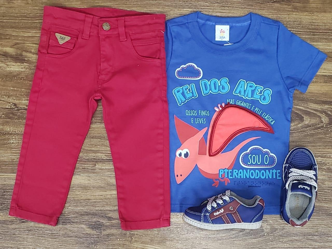 Calça Vermelho Cereja Com Camiseta Rei Dos Ares