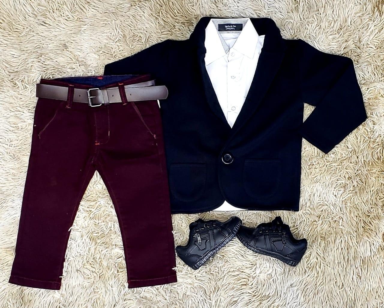 Calça Vinho com Camisa Social e Blazer