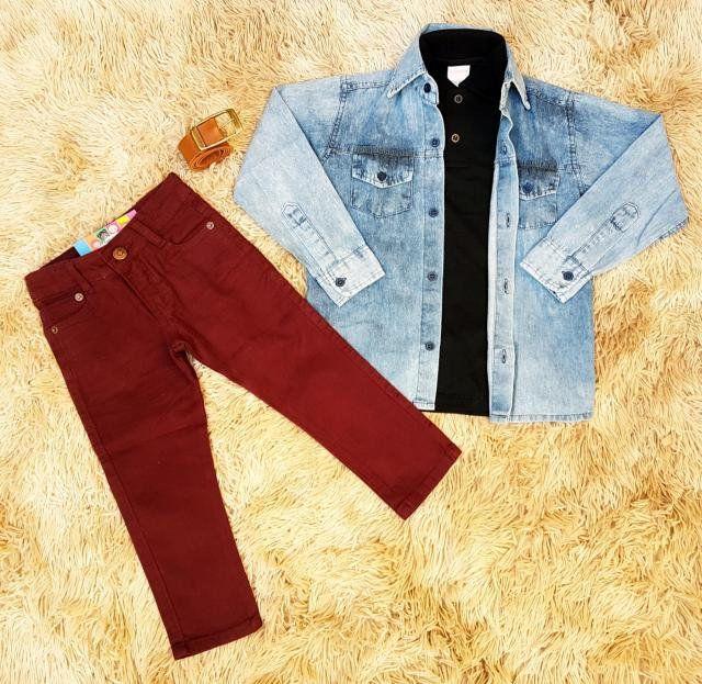 Calça Vinho com Polo Preta e Camisa Jeans