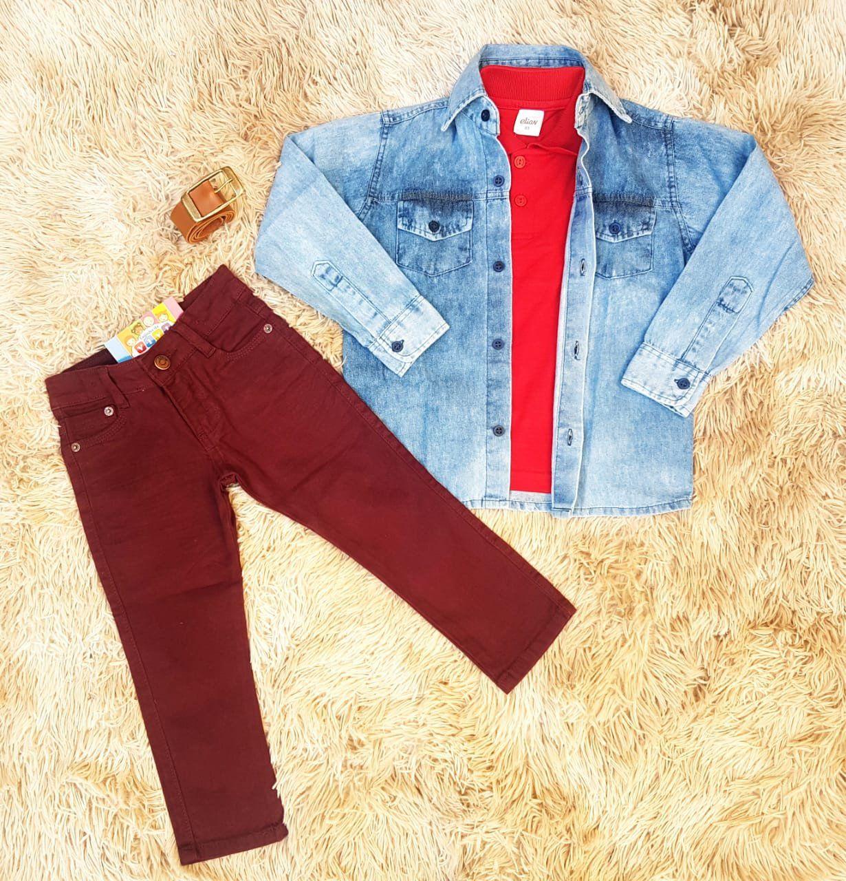 Calça Vinho com Polo Vermelha e Camisa Jeans
