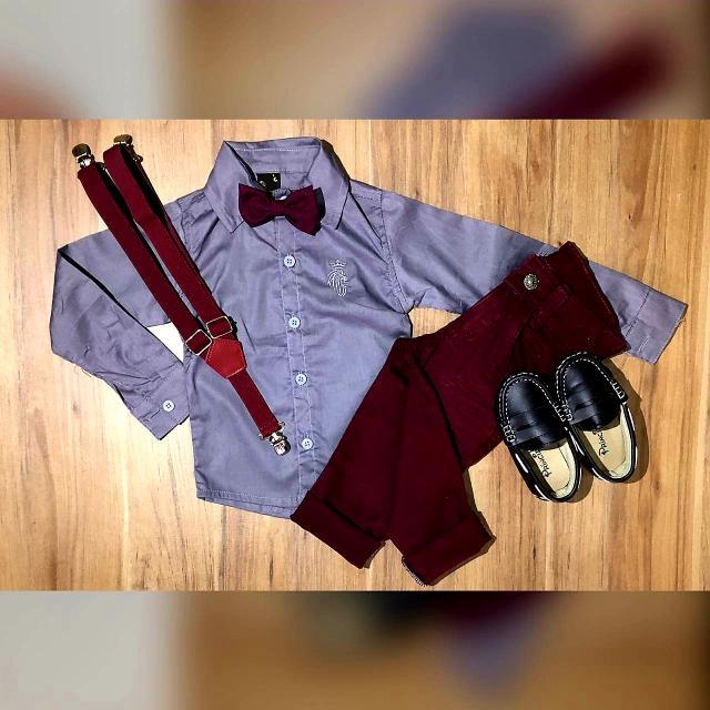 Calça Vinho com Suspensório e Camisa com Gravata