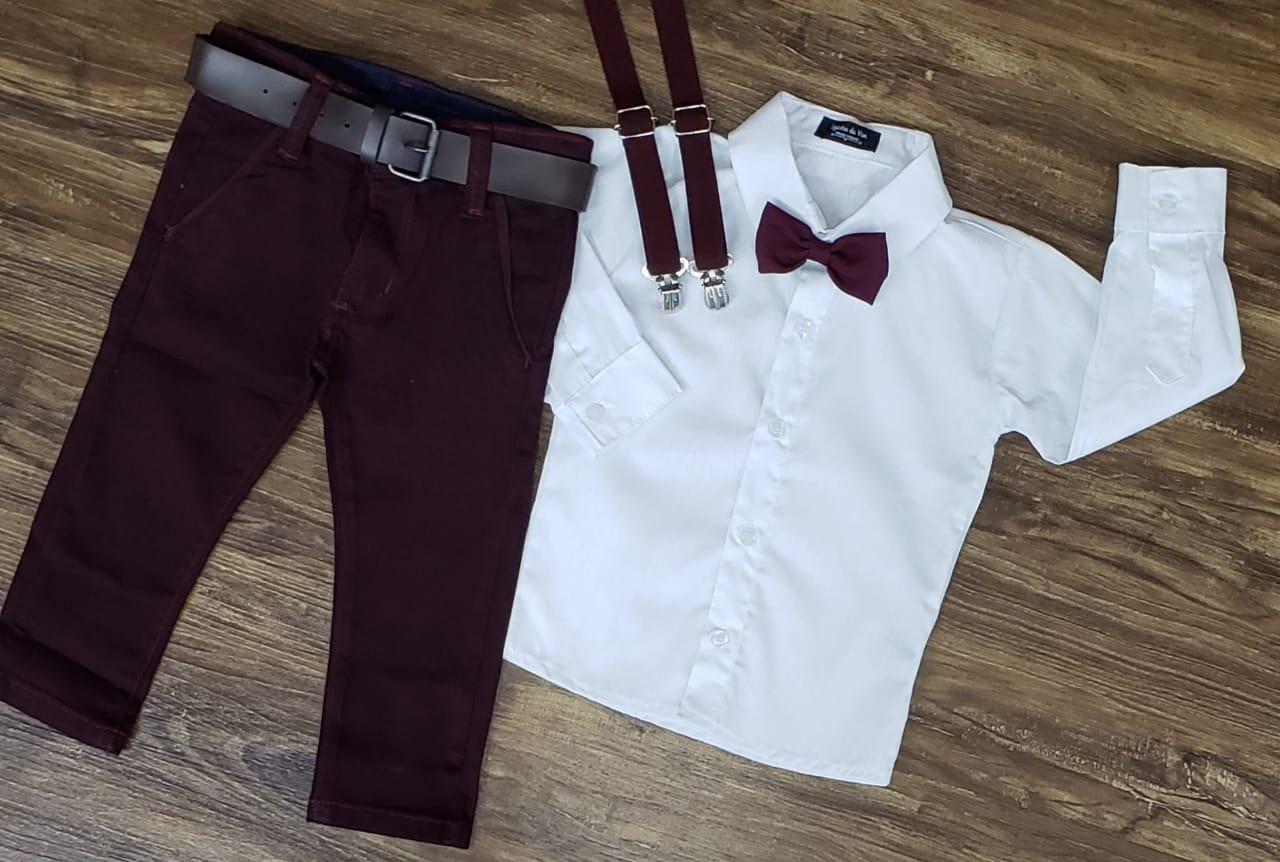 Calça Vinho com Suspensório e Camisa Branca com Gravata